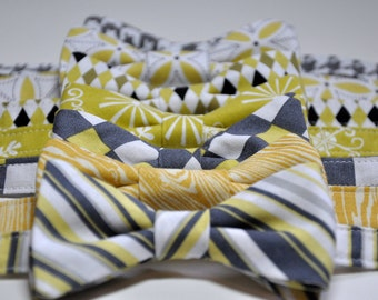 Boys Bow Ties Citron Yellow and Grey Holiday Toddler Bowties Baby Ties