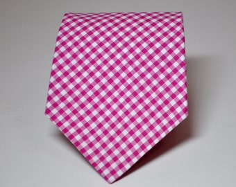 Fuschia Gingham Mens Necktie