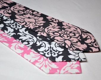 Men's Tie - Pink and Gray Neckties - Damask Ties for Your Wedding