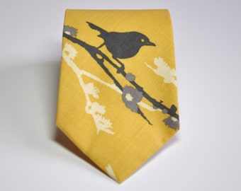 Boy's Necktie , Teen , Baby , Toddler , Bird Necktie , Yellow and Grey Tie