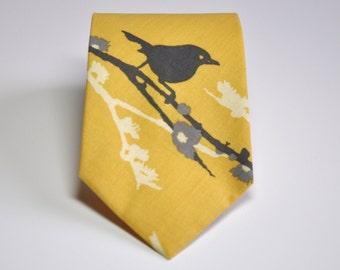 Men's Tie - Yellow and Gray Bird Necktie - Men's Necktie - Wedding Necktie
