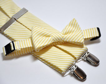 Boys Bow Tie and Suspender Set Yellow Striped Seersucker Childrens Clothing