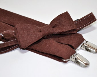 Men's Bow Tie and Suspenders, Men's Ties, Linen Bow Tie, Chocolate Brown, Self Tie Bow Tie, Men's Bowtie, Men's Suspenders, Wedding Ties