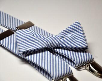 Navy Blue Seersucker Men's Bow Tie and Suspenders