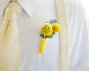 Boy's Necktie and Suspenders in Yellow Gingham