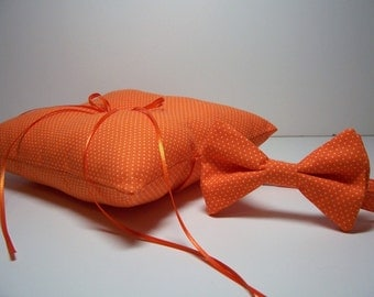 Modern Wedding Ring Bearer Set Bow Tie or Necktie and Ring Pillow