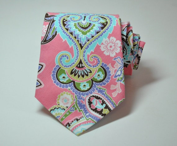 Pink Paisley Necktie for Men by Me and Matilda
