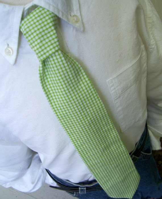 Me and Matilda Everyday Necktie Lime Gingham