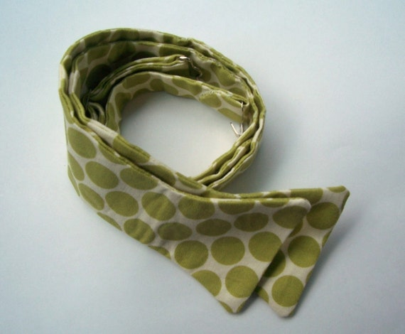 Freestyle Bowtie For Men Lime Green Big Dots