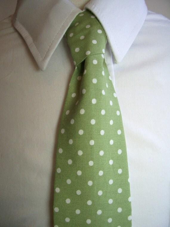 Sage Dot Necktie - Mens or Boys Tie