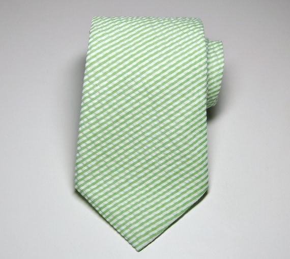 Seersucker Necktie Me and Matilda Everyday Mens Necktie Boys Necktie Lime Green Stripes