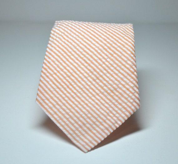 Necktie Me and Matilda Everyday Necktie Coral Seersucker Stripe