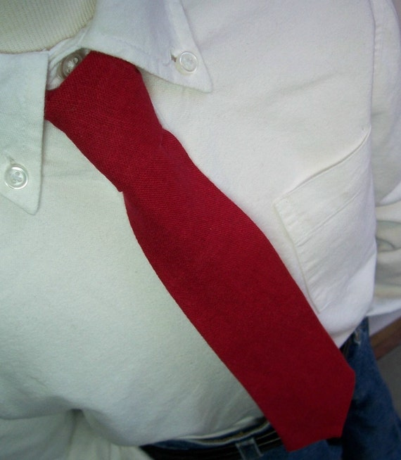 Red Necktie - Linen Tie for Men or Boys