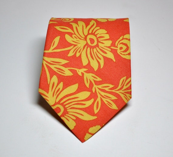 Orange Necktie for Men Me and Matilda Sunset Daisy Tie
