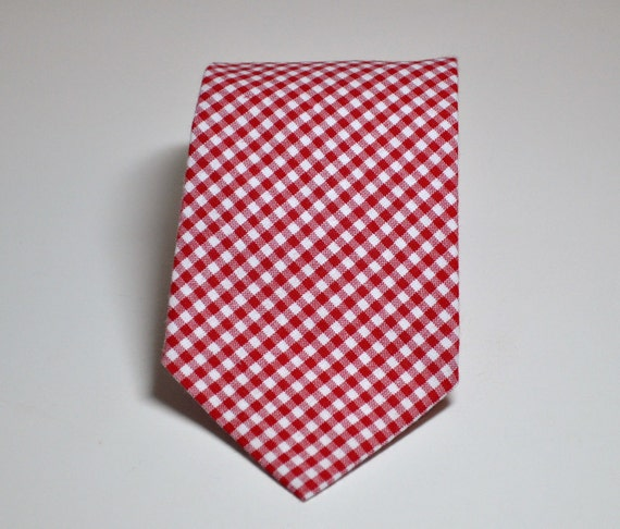 Necktie - Red Gingham - Mens Tie or Boys Necktie - Lots of Colors Available