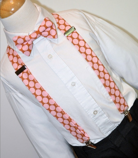 Suspenders and Bowtie Pink Big Dots OTHER COLORS AVAILABLE