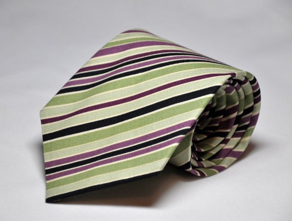 Plum and Sage Striped Necktie for Men or Boys