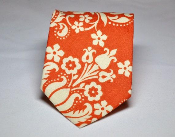 Orange Damask Necktie - All Sizes Available