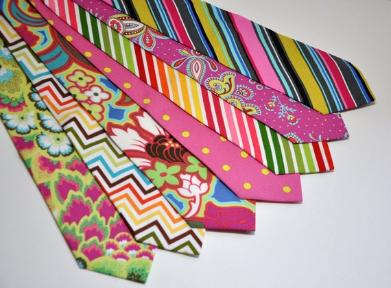 Neon and Pink Neckties for Your Wedding Party