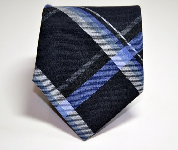 Men's Tie -  Wool Plaid Necktie - Black and Blue Men's Necktie