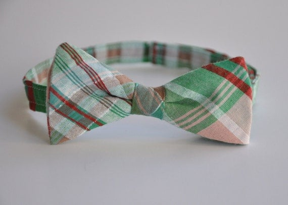 Boys Bowtie Red and Green Madras Plaid