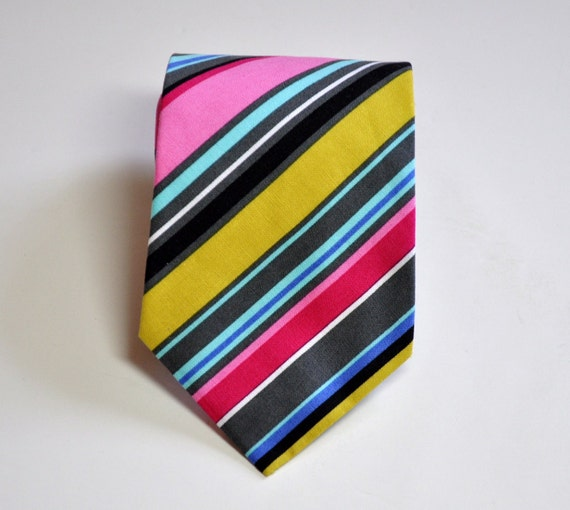 Mens Necktie Neon Pink and Grey Striped Tie READY TO SHIP