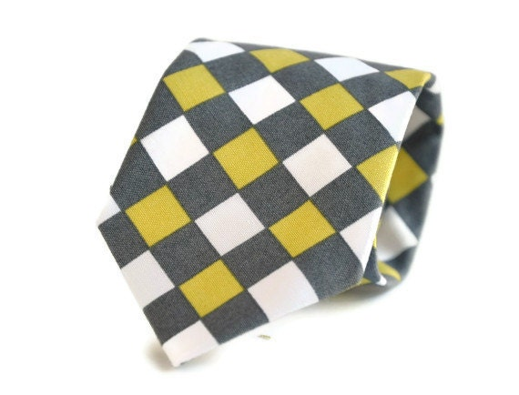 Necktie - Men's Tie or Boy's Necktie  -  Yellow and Gray Graphic Gingham