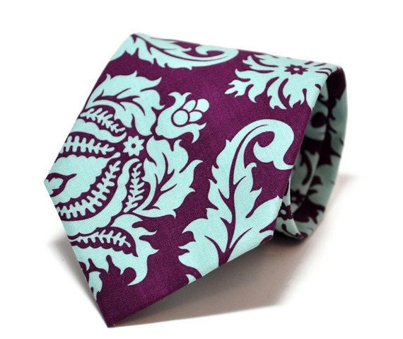 Purple Necktie for Men or Boys - Purple and Turquoise Damask Tie