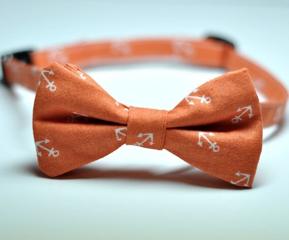 Boys Bowtie in Orange Anchors