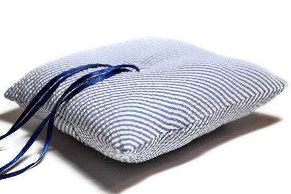 Modern Ring Pillows : Ringbearer Pillow Blue Seersucker Stripes Simply Modern Ring