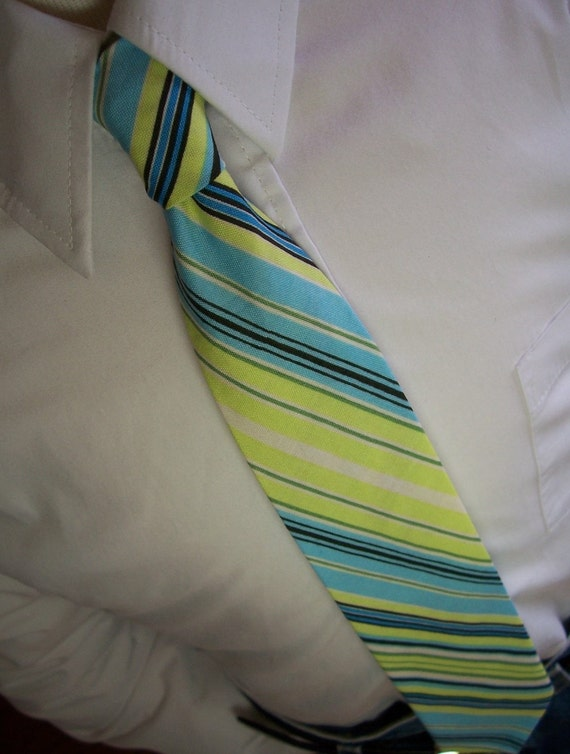 Lime and Blue Striped Necktie for Men Boys Toddlers or Baby