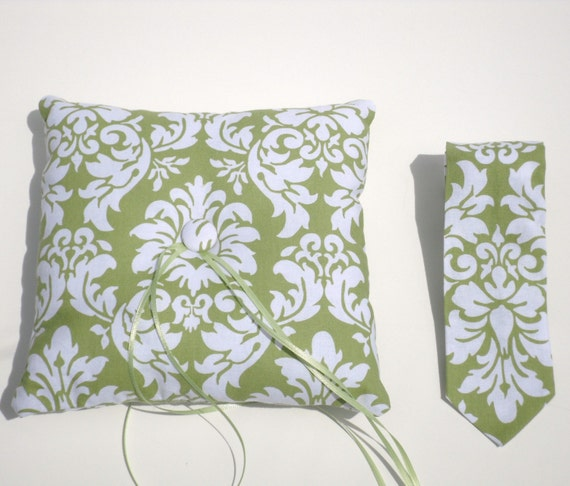 Modern Ring Pillows : Modern Wedding Ring Bearer Set Ring Pillow and Necktie or Bow
