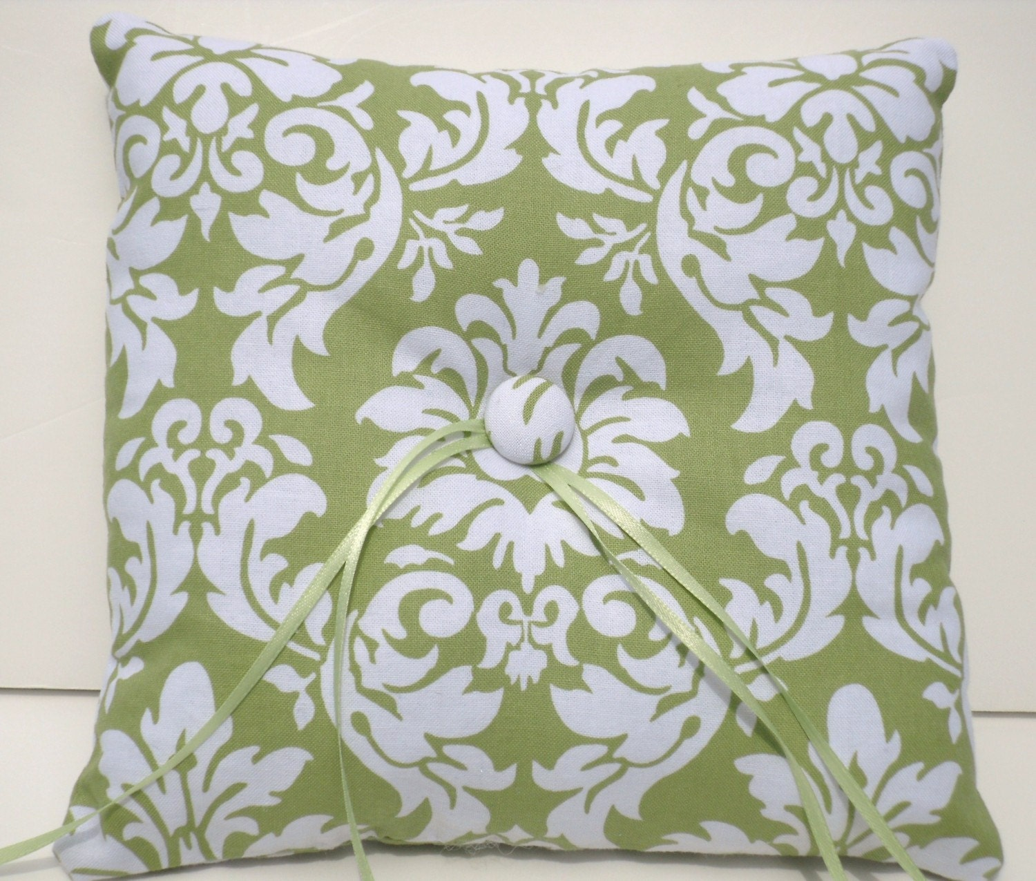 Modern Ring Pillows : Ringbearer Pillow Avocado Damask SImply Modern Ring Pillow by