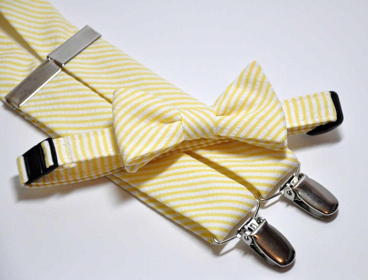 mens bow tie and suspender set yellow striped seersucker