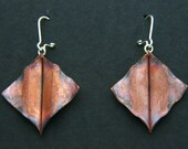 Copper Form Folded Manta Ray Earrings