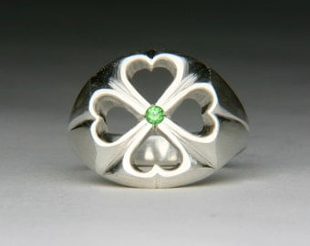 Hearts and Clovers Silver Ring with Tsavorite Green Garnet jc203m