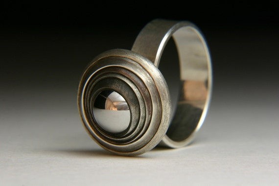 Reserve for Varra - Kinetic Eye Silver Ring - An original by Jewelscurnow