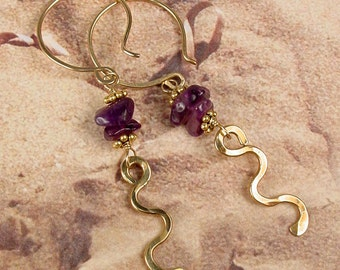 Daydream - Hammered Wave Earrings with Amethyst