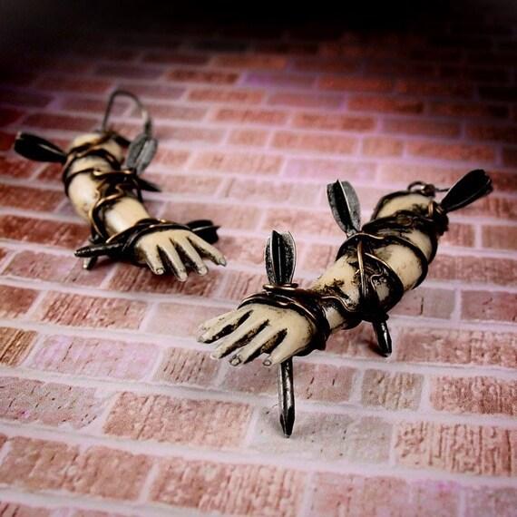 NERVE DAMAGE - Goth Punk Rocker Vintage Flechette Pierced Doll Arm Earrings