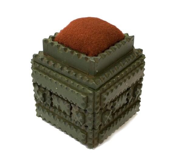 Tramp Art Green Sewing Box