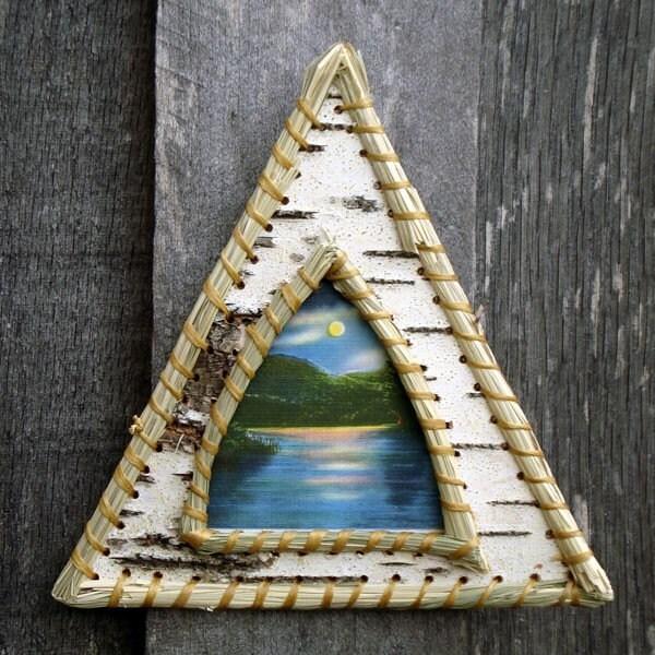 Birch bark triangle picture frame