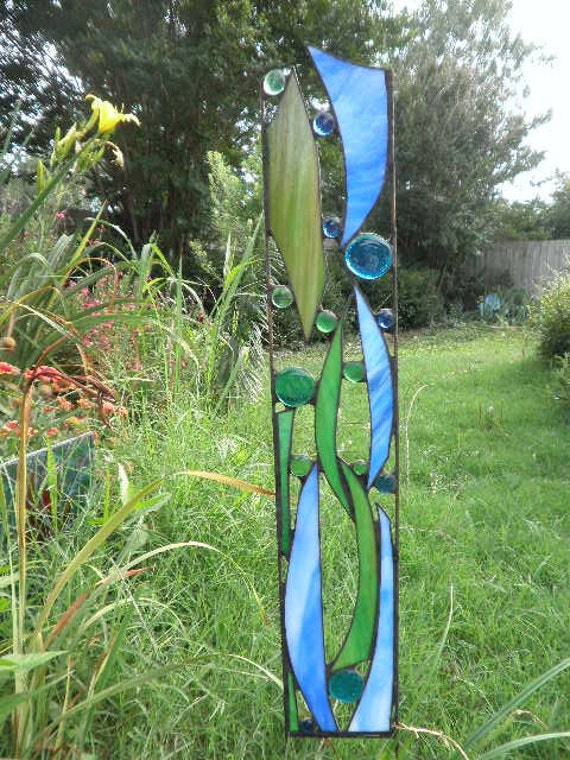Stained Glass Garden Sculpture Seapoint By Feralglass On Etsy