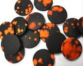 Black/Orange Lava Style Circle Stone Beads