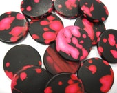 Black/Pink Lava Style Circle Stone Beads