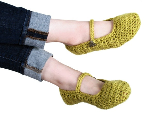 Mustard Yellow Slipper with Golden Bee Buttons (size 6 only - Ready to Ship)