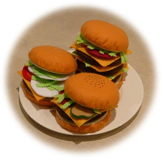 Pretend Play Kitchen - Felt Food Patterns - Burgers by Design