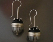 black enamel and crystal ball earings