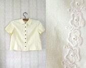 vintage 1960's lemon yellow handmade linen blouse