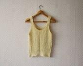 vintage 1980's handmade knitted boho yellow cream tanktop