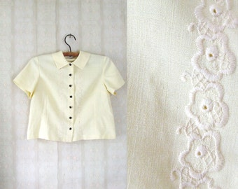 vintage 1960's lemon yellow handmade linen blouse